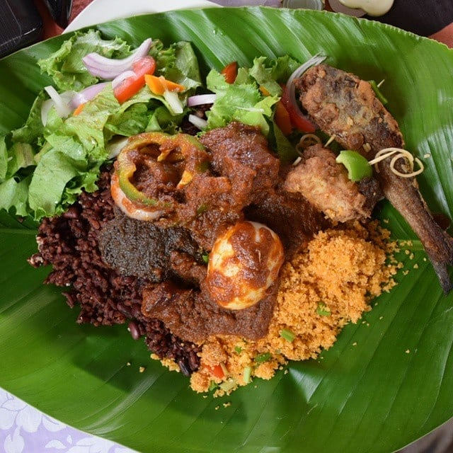 Waakye in a sustainable local plantain leaves