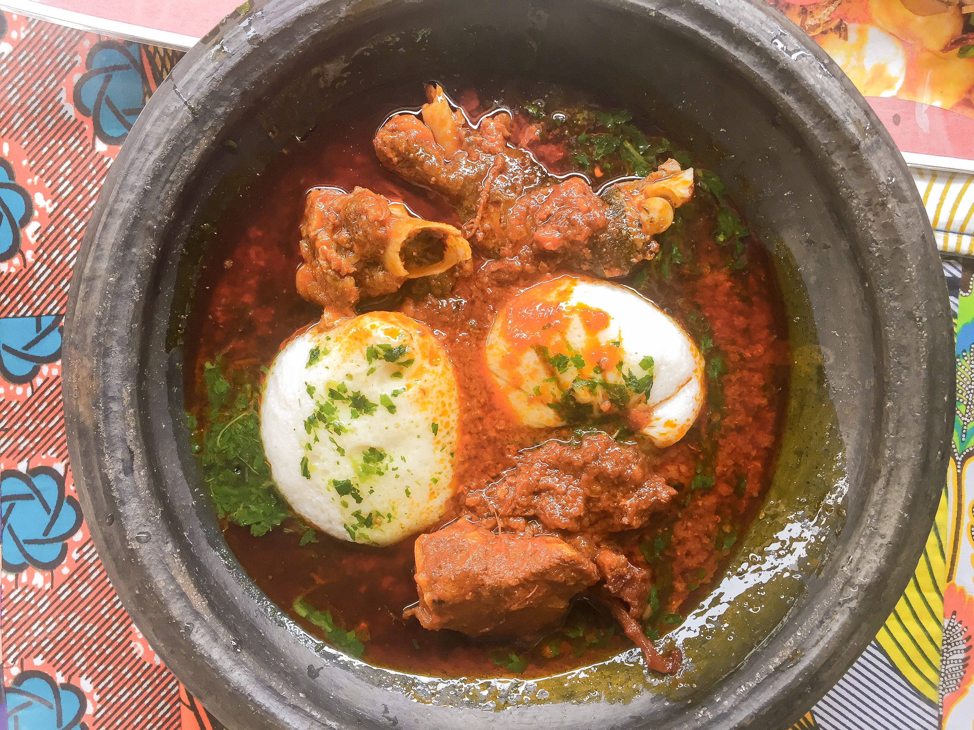 An image of Tuo Zaafi in a local earthen ware bowl, one of Ghana's staple dishes